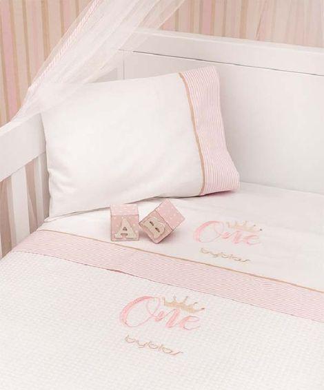 Σετ σεντόνια βρεφικά κούνιας Design 83 One Pink Byblos