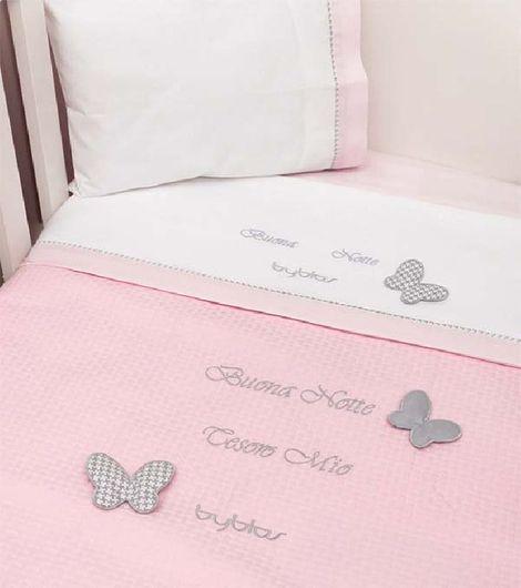 Βρεφική Κουβέρτα Κούνιας Πικέ Design 84 Butterfly Byblos