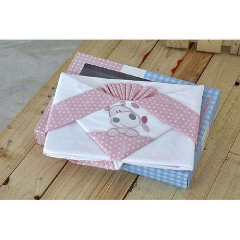 klotsotiras Βρεφικά Σεντόνια Κούνιας Αρκουδάκι 120Χ180 Pink