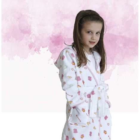 Klotsotiras Παιδικό Μπουρνούζι Princess Μέγεθος 4 Ετών White Pink