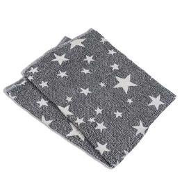Πλεκτή κουβέρτα ζακάρ-γκρι με αστέρια Abo
