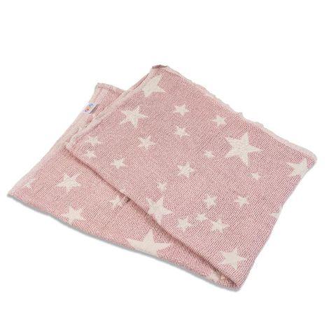 Πλεκτή κουβέρτα ζακάρ-ροζ με αστέρια Abo