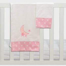 Σετ σεντόνια καλαθούνας-λίκνου3τμχ carousel ροζ Abo