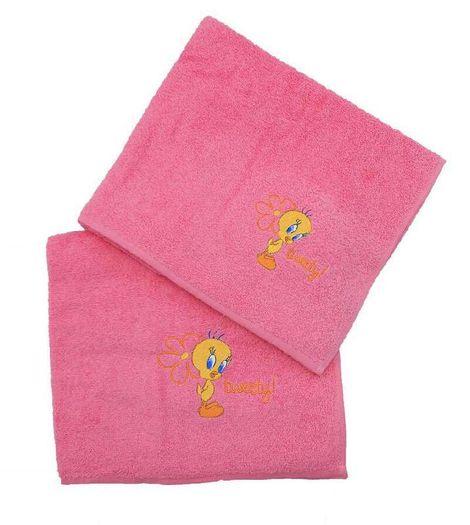 Viopros Παιδικές Πετσέτες Σετ 2 Τεμ 50X80, 70X130 Tweety Φούξια