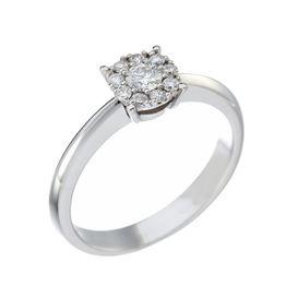 Δαχτυλίδι Μονόπετρο με Διαμάντια Λευκόχρυσος Κ18 - 10069R