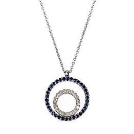 Μενταγιόν με Διαμάντια και Ορυκτή Πέτρα Λευκόχρυσος K18 - 11023