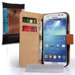 Caseflex για Samsung Galaxy S4 Καφέ Δερμάτινη Θήκη Stand Wallet και Μεμβράνη Προστασίας Οθόνης(ΚΙΝ323)