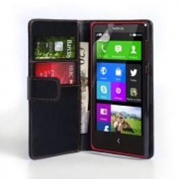 YouSave Accessories για Nokia X Δερμάτινη PU Θήκη Wallet και Screen_Protector - Μαύρη(ΚΙΝ420)