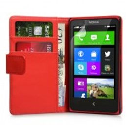 YouSave Accessories για Nokia X Δερμάτινη PU Θήκη Wallet και Screen_Protector - Κόκκινη(ΚΙΝ421)