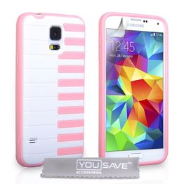 YouSave Accessories για Samsung Galaxy S5 Piano Gel Θήκη και Screen_Protector - Ροζ(ΚΙΝ365)