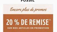 Code promo reduction de 20% supplémentaire sur les promotions FOSSIL (site officiel)