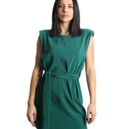 Αμάνικο φόρεμα με ζώνη (Πράσινο)