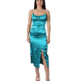 Midi φόρεμα σατέν metallic (Πετρόλ)