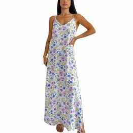 Φλοράλ φόρεμα μάξι lauren (Λιλά)