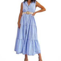 Μάξι φόρεμα ριγέ με γιακά rachael (Μπλε)