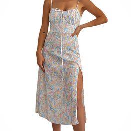 Midi φόρεμα φλοράλ με επένδυση (Λευκό)