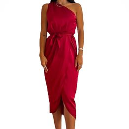 Midi σατέν φόρεμα με έναν ώμο και ζώνη Cecilia (Μπορντό)