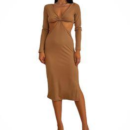 Midi φόρεμα ριπ με ανοίγματα (Μπεζ)