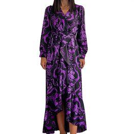 Μάξι φόρεμα σατέν φλοράλ (Μωβ)