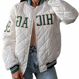 Bomber jacket με καπιτονέ σχέδιο ''CHICAGO'' (Λευκό)