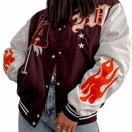 Bomber jacket με τσέπες στο πλάι ''LA'' (Καφέ)