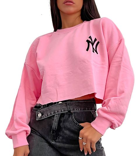 Crop top φούτερ ''NY'' (Ροζ)