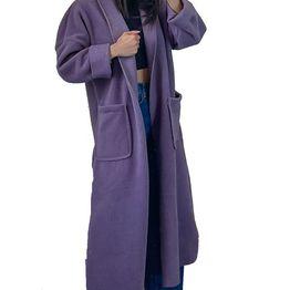 Μακρύ παλτό με τσέπες (Μωβ)