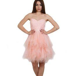 Tutu στράπλες ροζ φόρεμα με τούλινη φούστα