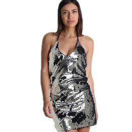 Ασημί φόρεμα με πούλιες εξώπλατο