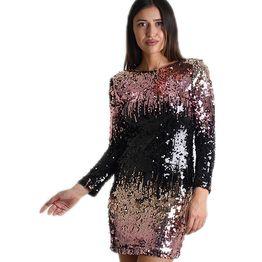 Μακρυμάνικο φόρεμα με παγιέτες και φερμουάρ πολύχρωμο
