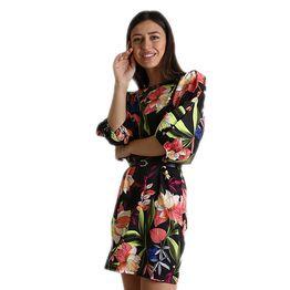 Εμπριμέ φόρεμα με ζώνη (Μαύρο)