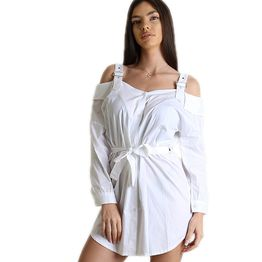 Λευκό φόρεμα με ρυθμιζόμενα λουράκια και κουμπιά