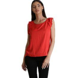 Αμάνικη μπλούζα με βολάν (Κόκκινο)