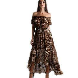 Μάξι bardot λεοπάρ φόρεμα με εσωτερική μαύρη φόδρα και ουρά