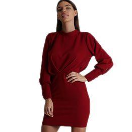 Εφαρμοστό φόρεμα με ανοιχτή πλάτη και φερμουάρ (Μπορντό)