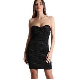 Εφαρμοστό μίνι φόρεμα στράπλες με κόμπο (Μαύρο)