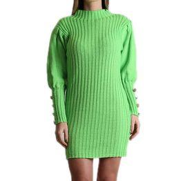 Πλεκτό φόρεμα με φουσκωτά μανίκια και κουμπιά (Λαχανί)