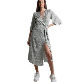 Midi φόρεμα δετό με 3/4 μανίκι και λουλουδάκια (Χακί)
