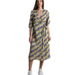 Midi φόρεμα δετό με 3/4 μανίκι και λουλούδια (Κίτρνο)