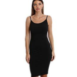 Ελαστικό φόρεμα midi με τιράντες (Μαύρο)