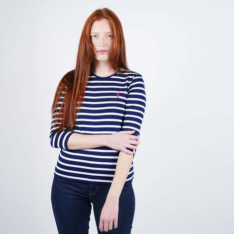 Polo Ralph Lauren Stripe 3/4 Sleeve Knitted Top (9000050500_44942)