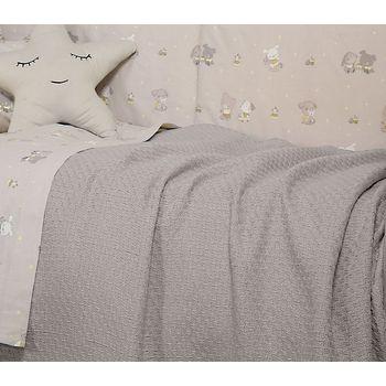 Κουβέρτα κούνιας 110×150 Smooth grey Baby Collection – Nef-Nef