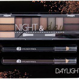 2k Night & Day Eye Shadow Daylight 8,16gr Combo: Eye Shadow Palette 8,16 G + Eyeliner Pencil 0,6 G Black + Eyeliner Pencil 0,6 G Brown