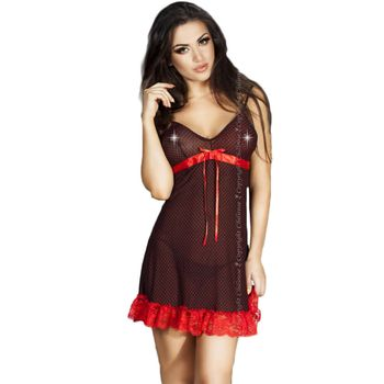 Γυναικείο Babydoll Chilirose – Babydoll and String CR-3170-black-red