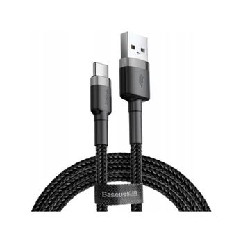 Data Cable Baseus Cafule Braided USB-C 1.0m Grey Black CATKLF-BG1