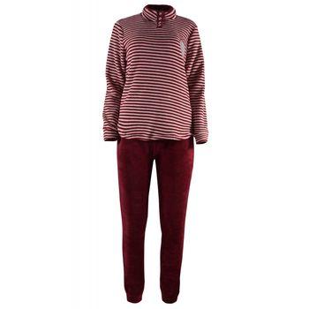Γυναικείο πιτζάμα fleece ριγα. ΚΟΚΚΙΝΟ