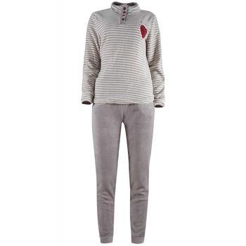 Γυναικείο πιτζάμα fleece ριγα. ΜΠΕΖ