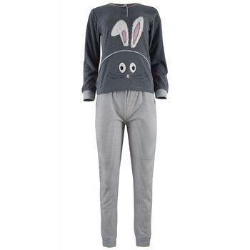 Γυναικεία πυζάμα sampler bunny. Comfortable style. ΓΚΡΙ