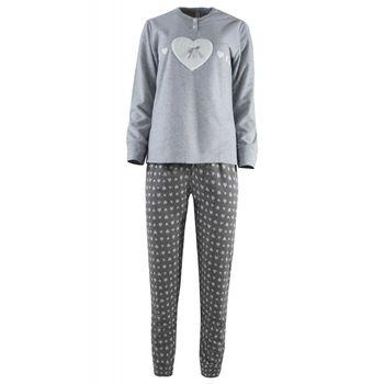 Γυναικεία πιτζάμα Caress καρδιά – εμπριμέ παντελόνι. ΓΚΡΙ
