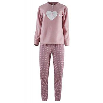 Γυναικεία πιτζάμα Caress καρδιά – εμπριμέ παντελόνι. ΡΟΖ